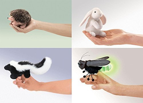 Hedgehog Finger Puppet - Folkmanis Finger Puppet Set, Hedgehog, Lop Ear Bunny, Skunk and Firefly