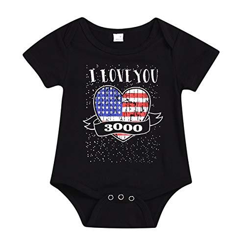 (Haokaini Baby I Love You 3000 Romper Shirt for Girls Boys, Casual Sayings Onesie Jumpsuit Boysuit for Infant (Color : Black, Size :)
