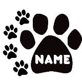 "Paw Prints YOUR or Pet Dog Cat Name Custom Black VINYL Decal Art Wall Sticker Car USA 14"""