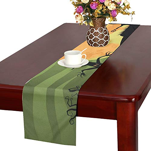 WHIOFE Creepy Halloween Trees Cat Jpg Table Runner, Kitchen Dining Table Runner 16 X 72 Inch for Dinner Parties, Events, Decor