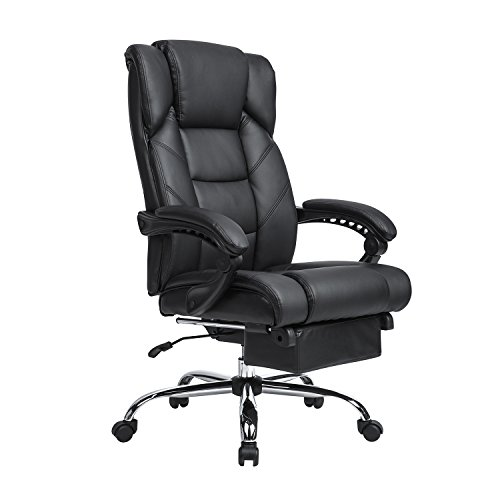 LCH Reclining Leather Office Chair - High Back Executive Chair with Adjustable Angle Recline Locking System and Footrest, Thick Padding For Comfort and Ergonomic Design For Lumbar (Angle Office Chair)