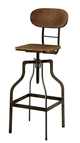 Furniture of America Alavus Industrial Height-Adjustable Swivel Barstool, Oak (Set Stool Bar Textures)