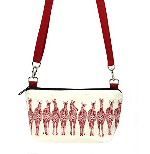 Tutenago Traveler Crossbody Bag - Zebra & Red Nylon - Machine Washable -