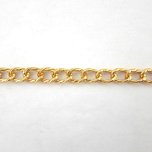 (BeadsOne - 6 ft - Aluminum Curb Flat Oval Textured Gold Chain 14x10x2mm Tarnish Resistant Chain. Available by The Foot or Spool for Jewelry Making and Craft Supplies. (11253-06))