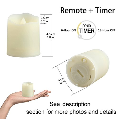 Flameless Candles with Remote and Timer - Tealight Candles - LED Tea Lights with Remote - Unscented Outdoor Flickering Candles - Battery Operated Candles 200 Hours - 6 set x 1.8'' by CelebrationLight (Image #6)'