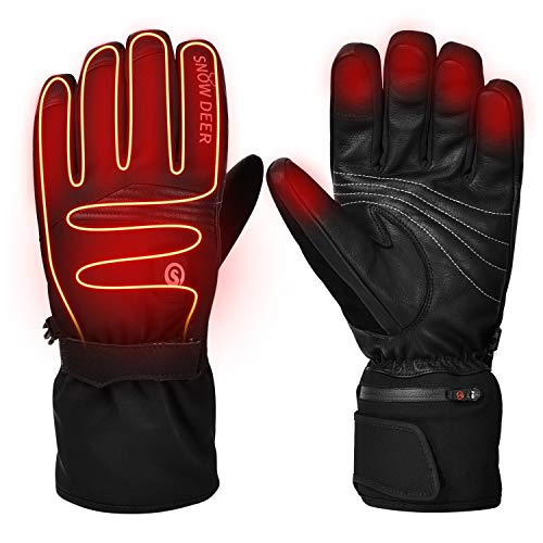 2019 Upgraded Heated Gloves,Motorcycle Gloves 7.4V 2200MAH Electric Rechargable Battery Gloves for Men Women,Winter Riding Cycling Hunting Fishing Ski Warm Insulated Mitten Glove Hand Warmer Arthritis (Best Ski Gloves 2019)