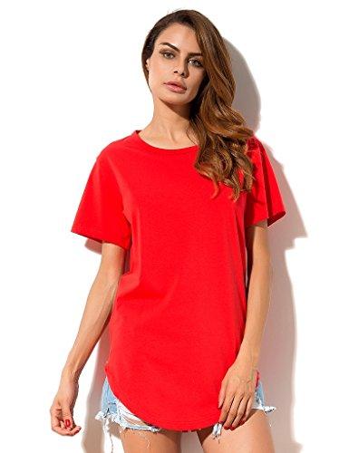 MSHING Women's Summer Simple Casual Plain Loose T-Shirt Tops (Quality Women T-shirt Red)
