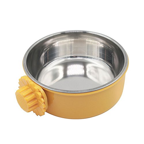 Daycount Pet Feeder Dog Bowl Stainless Steel Food Hanging Bowl Crates Cages Dog Parrot Bird Pet Drink Water Bowl Dish Accessory (S: 4.5''x2'', Yellow) from Daycount