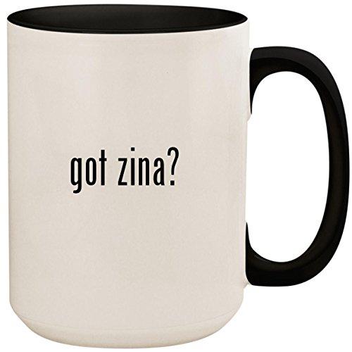 got zina? - 15oz Ceramic Colored Inside and Handle Coffee Mug Cup, Black ()