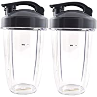 Nutribullet Blender 24 oz Tall Cup with Drinkable Flip Top Lid (2 Pack) | Two Large Premium Boder Plastic Replacement Containers for Pro 900 Watt or 600 Blenders