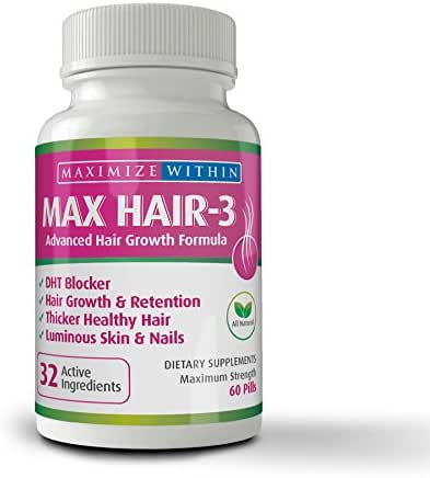 Maximize Within Max Hair-3 Advanced Hair Growth Formula,for Longer, Stronger, Healthier Hair-Scientifically Formulated with Biotin, Keratin, Bamboo for Beautiful Hair, Glowing Skin and Strong Nails