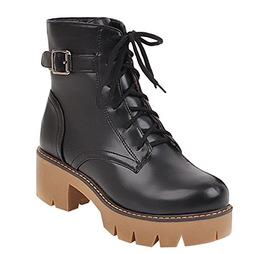 Carolbar Womens Lace Up Buckle Mid Heel Martin Oxfords Short Boots Black 42j6pZ