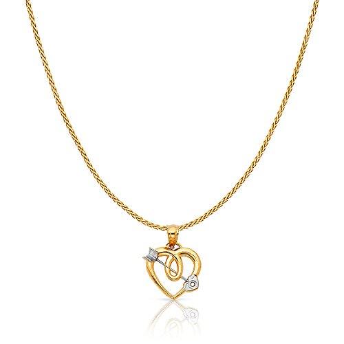 14K Two Tone Solid Gold Heart With Cupid Arrow Charm Pendant with 0.9mm Wheat Chain Necklace - 24