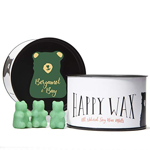 Happy Wax Bergamot and Bay Soy Wax Melts - 3.6 Oz Classic Tin - Cute Bear Shapes Perfect for Mixing in Your Wax Warmer!
