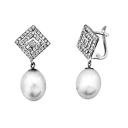 Boucled'oreille 18k blanc perle d'or 9.5mm. zircons cultivées [AA5713]