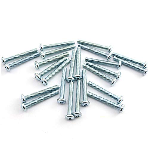 """24pcs 8-32 x 1-1/4"""" Machine Screws Metal Mounting Hardware Fitting Fastening Accessories Cross Slotted Round Phillips Head Screw Bolt"""