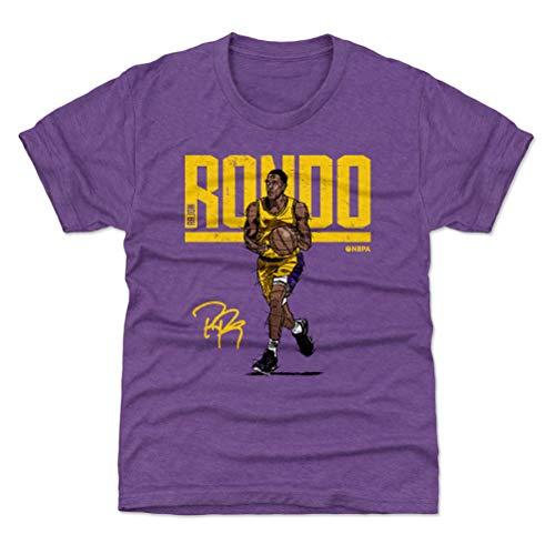 (500 LEVEL Los Angeles Basketball Youth Shirt - Kids Large (10-12Y) Heather Purple - Rajon Rondo Hyper Y WHT)