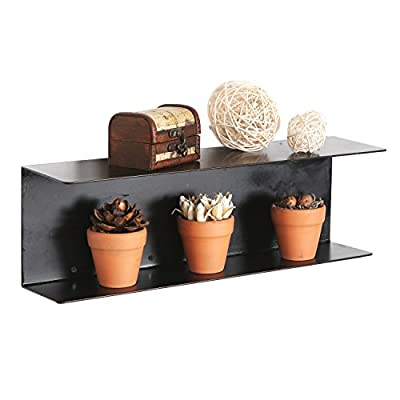 Modern Minimalist Black Metal Wall Mounted 17-inch Floating Shelves/Hanging Storage Rack Supply Shelf - 2-TIER METAL SHELVES: An easy-to-mount 2 tier hanging organizer shelf in a sophisticated black. MODERN STYLE: Sleek simple design in black provides an ideal accent for contemporary spaces ACCENT DISPLAYS: 2-tier design provides a variety of display options for curious, mini plants, collectibles, and framed pictures - wall-shelves, living-room-furniture, living-room - 41ReyzWDQfL. SS400  -