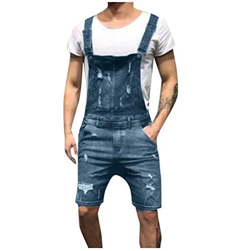 WOCACHI Mens Bib Overall Shorts Denim Jumpsuit Jeans Wash Broken Pocket Dungaree Suspender Pants 2019 Summer Deals Under 10 Dollars Sale Bargains New Walkshort Button Knee Length Cargo Coverall