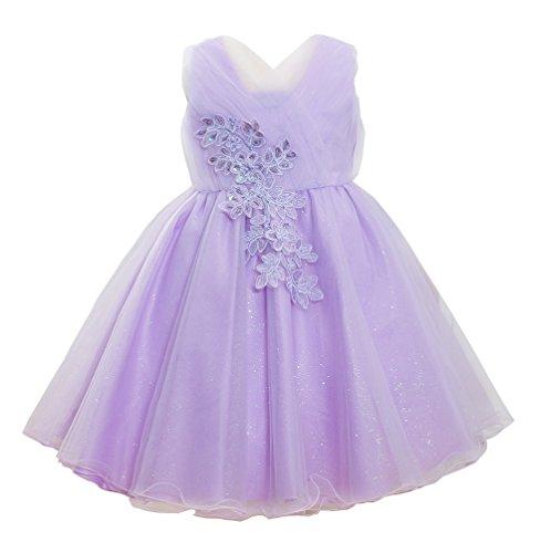 HBDesign Princess Baby Girls Tulle Flower Party Wedding Casual Dresses (Gossip Girl Satin)