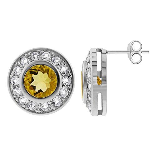 Gem Avenue 925 Sterling Silver Citrine & Clear Topaz Gemstone Post Back Stud Earrings (Clear Gems Topaz)