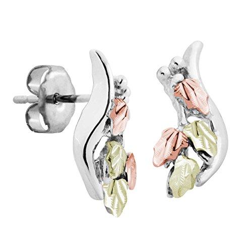 - Black Hills Gold on Silver Swirl Earrings