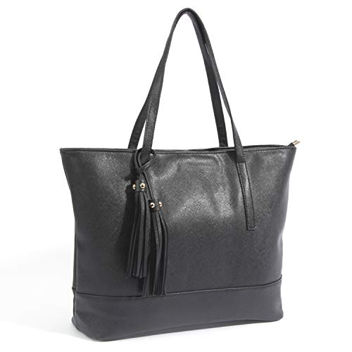 (Women Large Tote Bags - Tassels Purse Vegan Leather Top Handle Satchel Handbags, Striped Bottom (Black))
