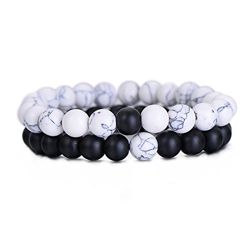 Nusthamon 2Pcs/Set Couples Distance Bracelet Classic Natural Stone White and Black Yin Yang Beaded Bracelets for Men Women Best Friend Hot (Bag Yang)