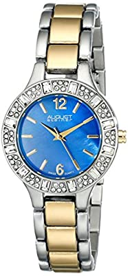 August Steiner Women's AS8135TTBU Swarovski Crystal-Accented Two-Tone Bracelet Watch