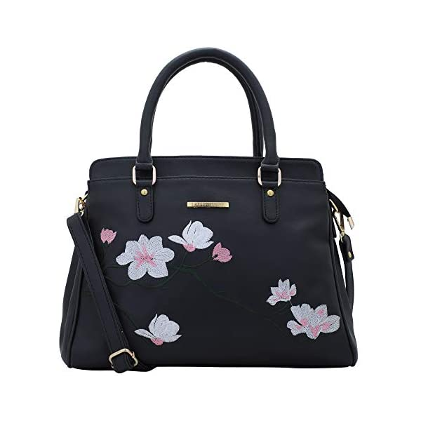 Lapis O Lupo Women Vegan Leather Handbags Flower Embroidered Bags Fashion Top Handle