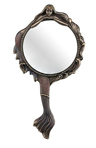 Mermaid Hand Mirror Collectible Decoration Figurine Cold Cast Bronze (For Mirrors Decoration)