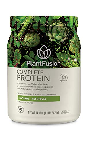 PlantFusion Complete Plant-Based Protein Powder, Natural Unflavored, 1 Lb Tub, 15 Servings, 1 Count, Non-GMO, Gluten Free, Hypoallergenic