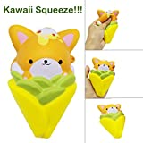 Show TINE ON Adorable Fox Corn Squishies, Jumbo Kawaii Super Slow Rising Squishy Toy Squeeze Animal Cream Scented Squishy Stress Relief Decompression Toys Gift for Kids Adults(11.7x7x5.5cm) (Yellow)