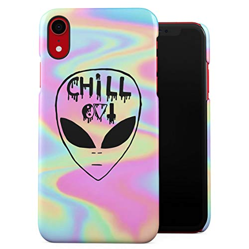 Chill Alien Space Iridescent Pastel Soap Film Trippy Tumblr Plastic Phone Snap On Back Case Cover Shell Compatible with iPhone Xr