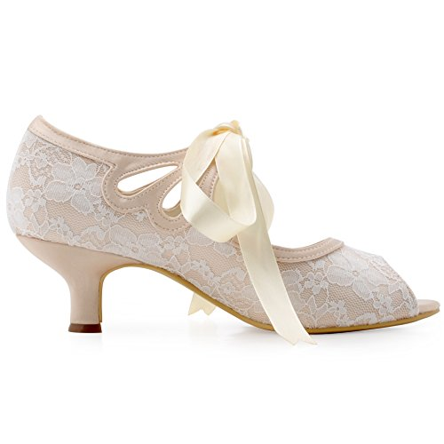 ElegantPark HP1522 Peep Toe Cintas Tie Mujer Mid Tacon Saten Lace Mary Janes boda Baile Fiesta zapatos Champ¨¢n