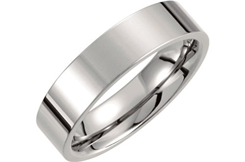 Titanium 6mm Comfort Fit Flat Band, Size 12.5 by The Men's Jewelry Store