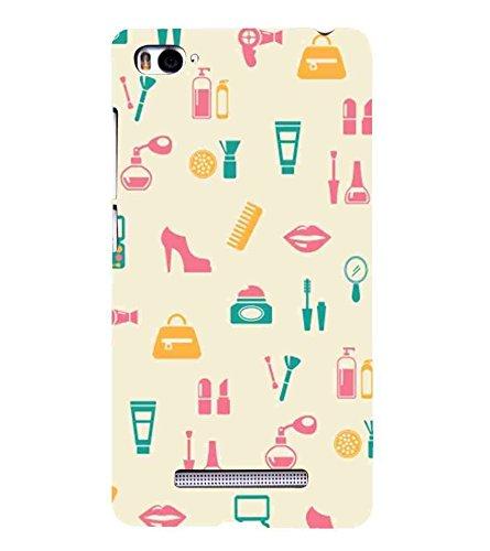 Shoes, Multicolor, Ladies Hand Bags, Lipstick, Printed Designer Back Case Cover for Xiaomi Mi 4i :: Xiaomi Redmi Mi 4i