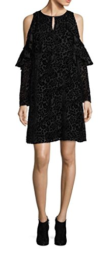 Nanette Lepore Women's Velvet Cold-Shoulder Dress Black 10 by Nanette Lepore