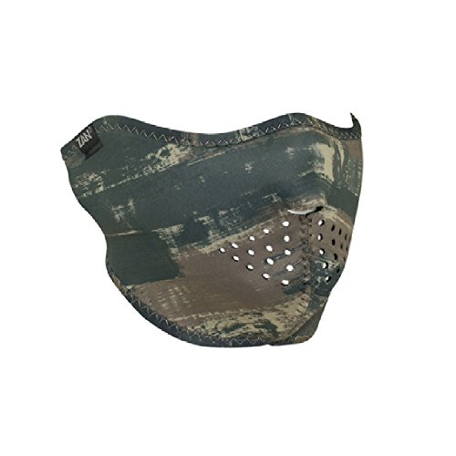 Hunter Green Khaki Tan Taupe Brushed Camo Camouflage Hunting Paintball Reversible to Solid Black Neoprene Half Face Mask Adjustable Strap ()