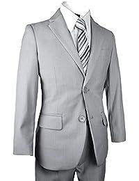 Boys Slim Suit in Light Gray Five Piece Set