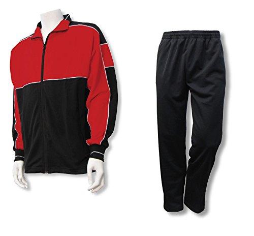 Code Four Athletics Men's Casual Warm up Jacket/Pant Set - Size Adult L - Color Red/Black
