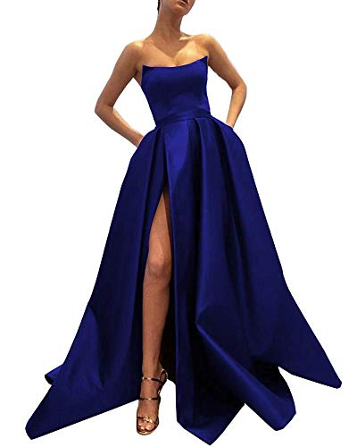 Ever-Beauty Womens Long Strapless Satin Prom Dress Sleeveless Slit Evening Ball Gown with Pockets Royal Blue Size 6