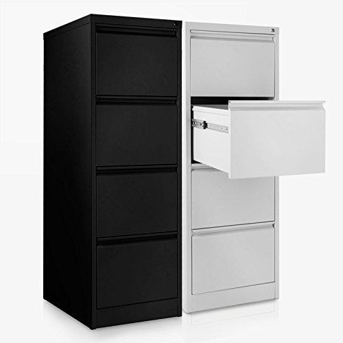 Office Marshal® Hängeregisterschrank mit 4 Schubladen | abschließbarer Aktenschrank für Hängeregister im DIN A4 Format | 132(H)x40,5(B)x62(T)cm | zwei Farben (lichtgrau)