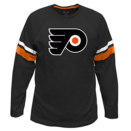 NHL Philadelphia Flyers Long Sleeve Tee with Double Arm Stripes, Large, Black (Stripe Arm)