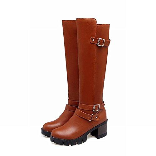 YE Damen Kniehohe Stiefel Blockabsatz High Heels Plateau mit Schnallen und Reißverschluss 6cm Absatz Elegant Modern Schuhe Braun