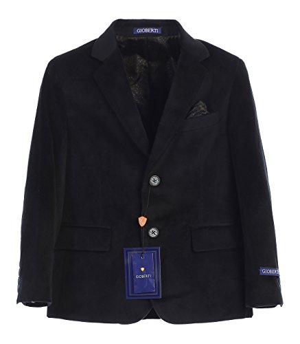 - Gioberti Big Boys Formal Velvet Blazer with Designed Buttons, Black, Size 12