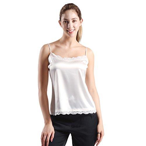 DEMOISELLE Camisole Satin, DD Women's Soft Adjustable Shoulder Straps Camisoles Tops Sleepwear Lingerie White Size XL