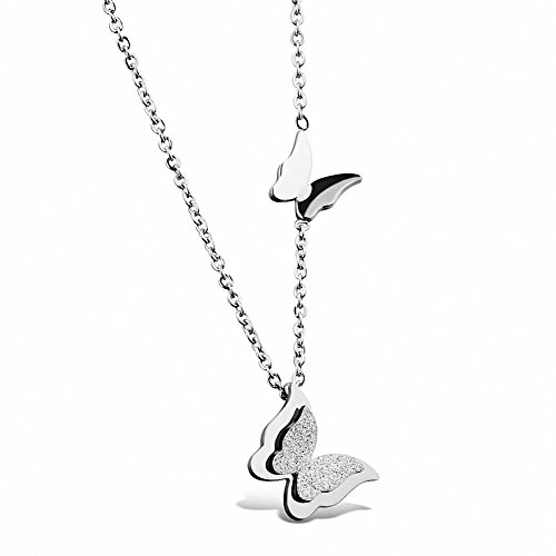 [Womens Girls Stainless Steel Butterfly Pendant Charms Clavicle Chain Necklace] (Butterfly Chain Necklace)