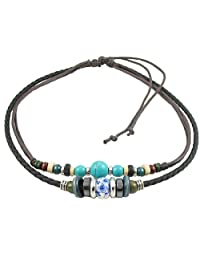 Ancient Tribe Adjustable Hemp Leather Cords Choker Necklace Turquoise Beads,Black