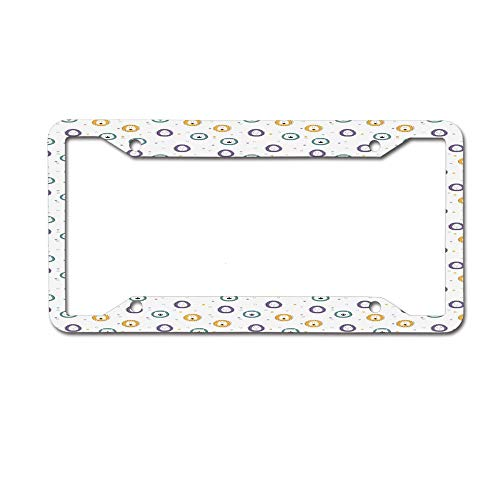 MichelleSmithred Laughing Sad Funny Hand Drawn Faces of Safari Animals with Colorful Manes and Stars License Plate Frame Aluminum Metal Tag for US Canada Standard 4 Holes Screws